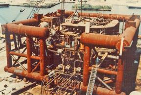 submerged steel oil platform, sunk as an artificial reef off Florida coast